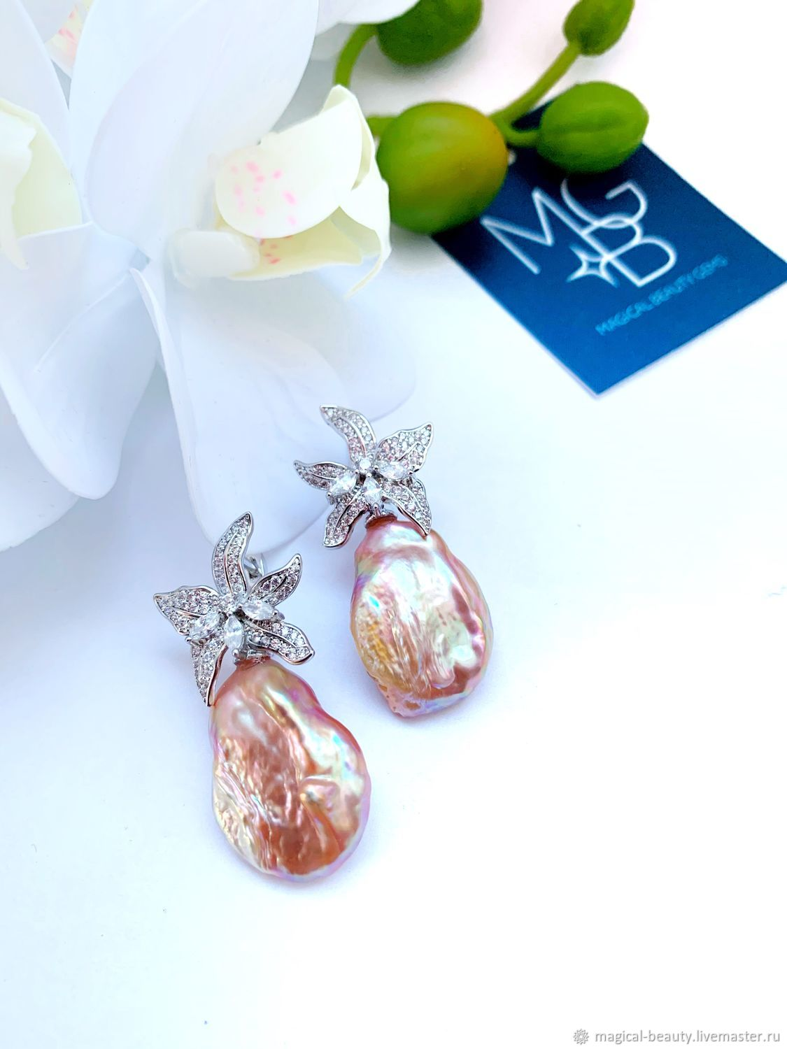 Earrings with Baroque pearls, Earrings, Moscow,  Фото №1