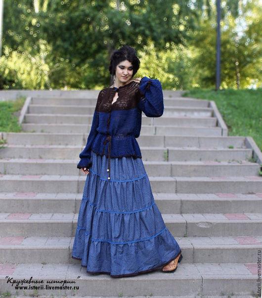 """Юбки ручной работы. Ярмарка Мастеров - ручная работа. Купить Пышная ярусная юбка """"Винтаж"""". Handmade. Тёмно-синий"""