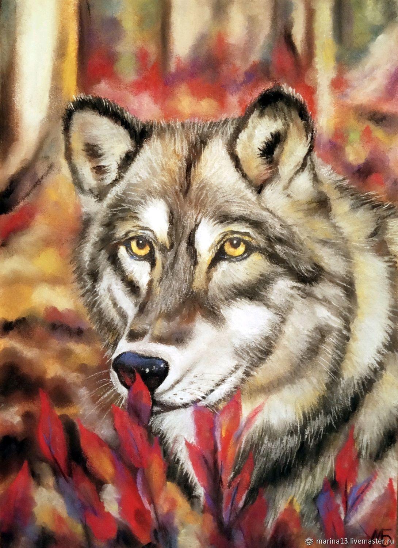 """""""Волчица"""" Картина с волчицей. Волчица в осеннем лесу. Волк ..."""