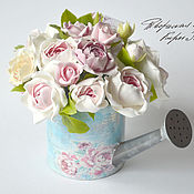 Цветы и флористика handmade. Livemaster - original item interior arrangement. Watering can with garden roses.. Handmade.