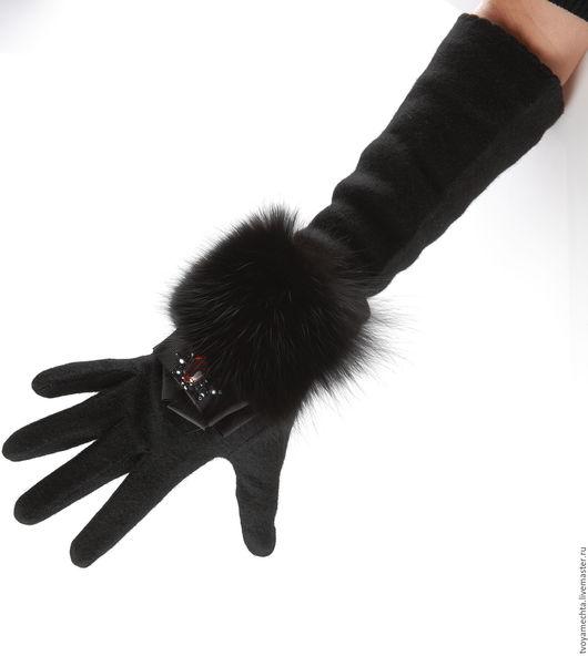 """Варежки, митенки, перчатки ручной работы. Ярмарка Мастеров - ручная работа. Купить """"Ночное приключение"""". Перчатки с мехом и стразами в стиле D. Handmade."""