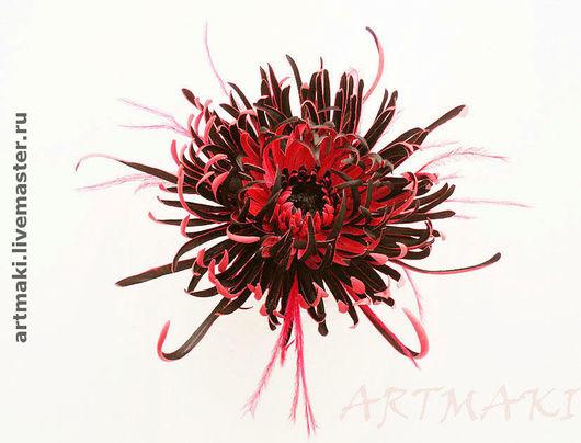 """Цветы ручной работы. Ярмарка Мастеров - ручная работа. Купить Хризантема """"Магда"""". Handmade. Цветы из ткани, ярко-красный"""