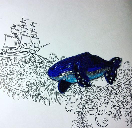 Броши ручной работы. Ярмарка Мастеров - ручная работа. Купить Брошь Сказочный кит. Handmade. Тёмно-синий, брошь, море