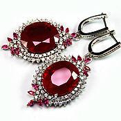 """""""Firebird"""" серьги серебро с красными рубинами и сапфирами"""