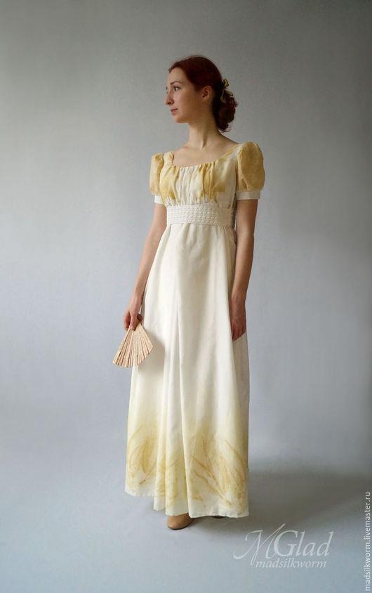 Платья ручной работы. Ярмарка Мастеров - ручная работа. Купить Платье в стиле ампир Эко-принт. Handmade. Белый, ампир