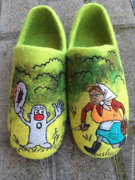 Обувь ручной работы. Ярмарка Мастеров - ручная работа. Купить домашние валяные тапочки из натуральной шерсти Охотничьи Истории - 3. Handmade.