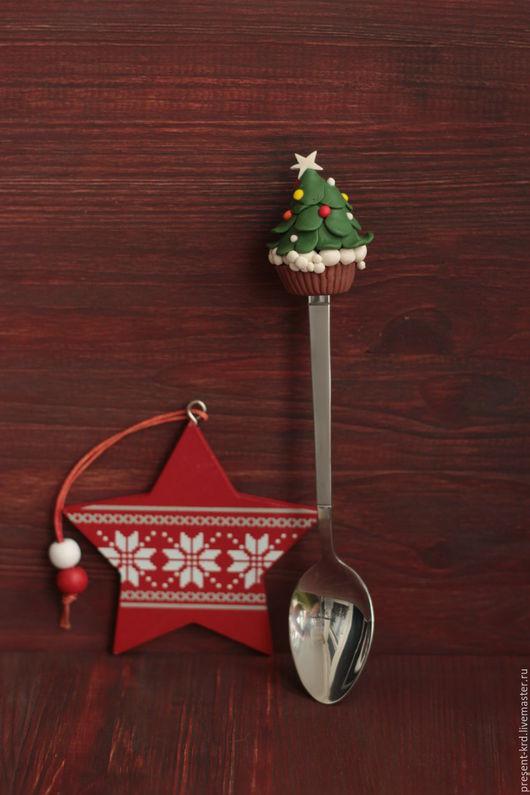Кухня ручной работы. Ярмарка Мастеров - ручная работа. Купить Новогодняя ложечка. Handmade. Комбинированный, ложка, ложка с декором
