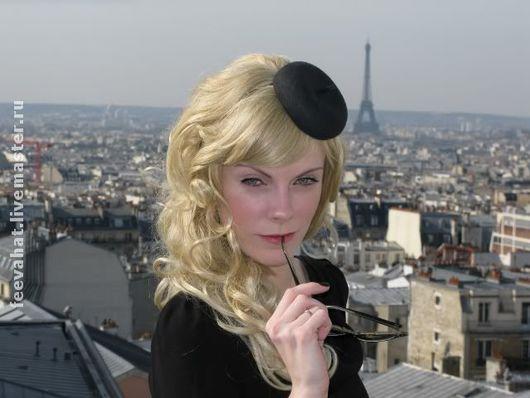 """Шляпы ручной работы. Ярмарка Мастеров - ручная работа. Купить мини-беретик """"Париж"""". Handmade. Маленькая шляпка, вуалетка, черный"""