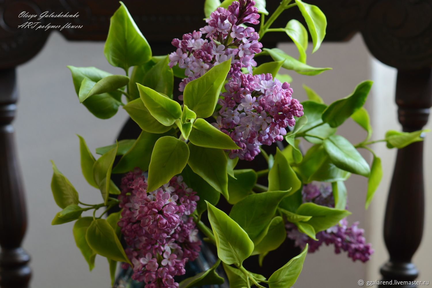 Branch of lilac for a vase with a narrow neck.Cold porcelain, Composition, Odessa,  Фото №1