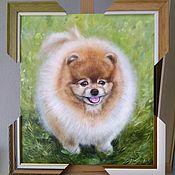 Картины и панно handmade. Livemaster - original item Oil painting with Spitz Portrait of Lucky. Handmade.