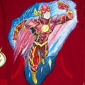 handmade. Livemaster - original item Kangaroo sweatshirt children`s Flash flash DC hand painted. Handmade.