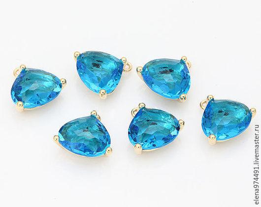 """Для украшений ручной работы. Ярмарка Мастеров - ручная работа. Купить 10.5х13х7мм. Подвеска """"Sapphire """" в позолоте. Handmade."""