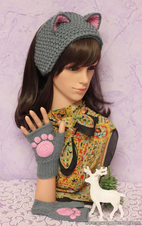 повязка на голову, повязка с ушками, повязка для волос, повязка вязаная, комплект из повязки и митенок, митенки вязаные, митенки с лапками