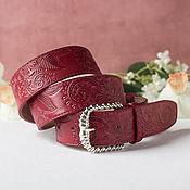 Аксессуары handmade. Livemaster - original item A leather belt with embossed Red, width 4 cm. Handmade.