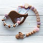 """Куклы и игрушки handmade. Livemaster - original item Комплект """"Мелодия любви"""" - прорезыватель + держатель. Handmade."""