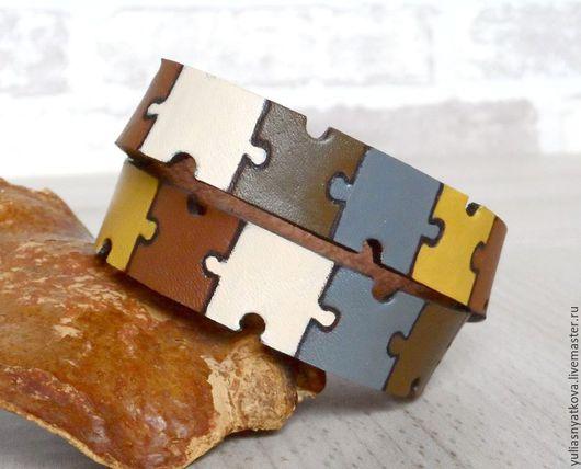 Браслеты ручной работы. Ярмарка Мастеров - ручная работа. Купить Кожаный браслет Паззл.. Handmade. Кожаный браслет, милитари
