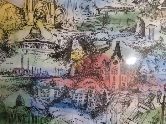 Подарочная графика.Любимый город - Днепропетровск. Акварель. Тушь.