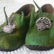 """Обувь ручной работы. Ярмарка Мастеров - ручная работа Семейный комплект по мотивам """"Лесной сказки"""" тапочки войлочные. Handmade."""
