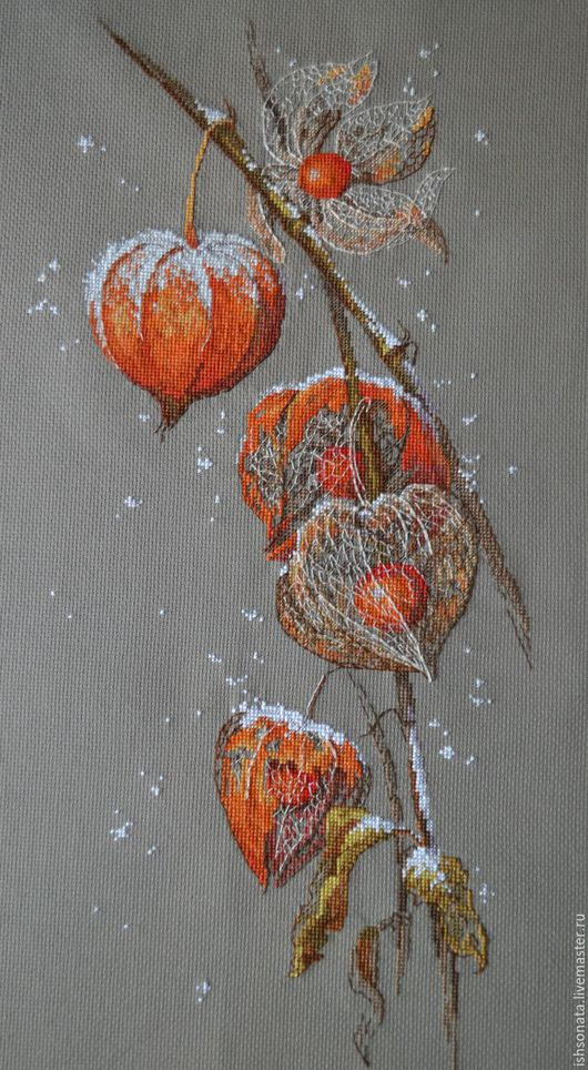 Натюрморт ручной работы. Ярмарка Мастеров - ручная работа. Купить Физалис. Handmade. Оранжевый, вышивка на заказ, оригинальный подарок