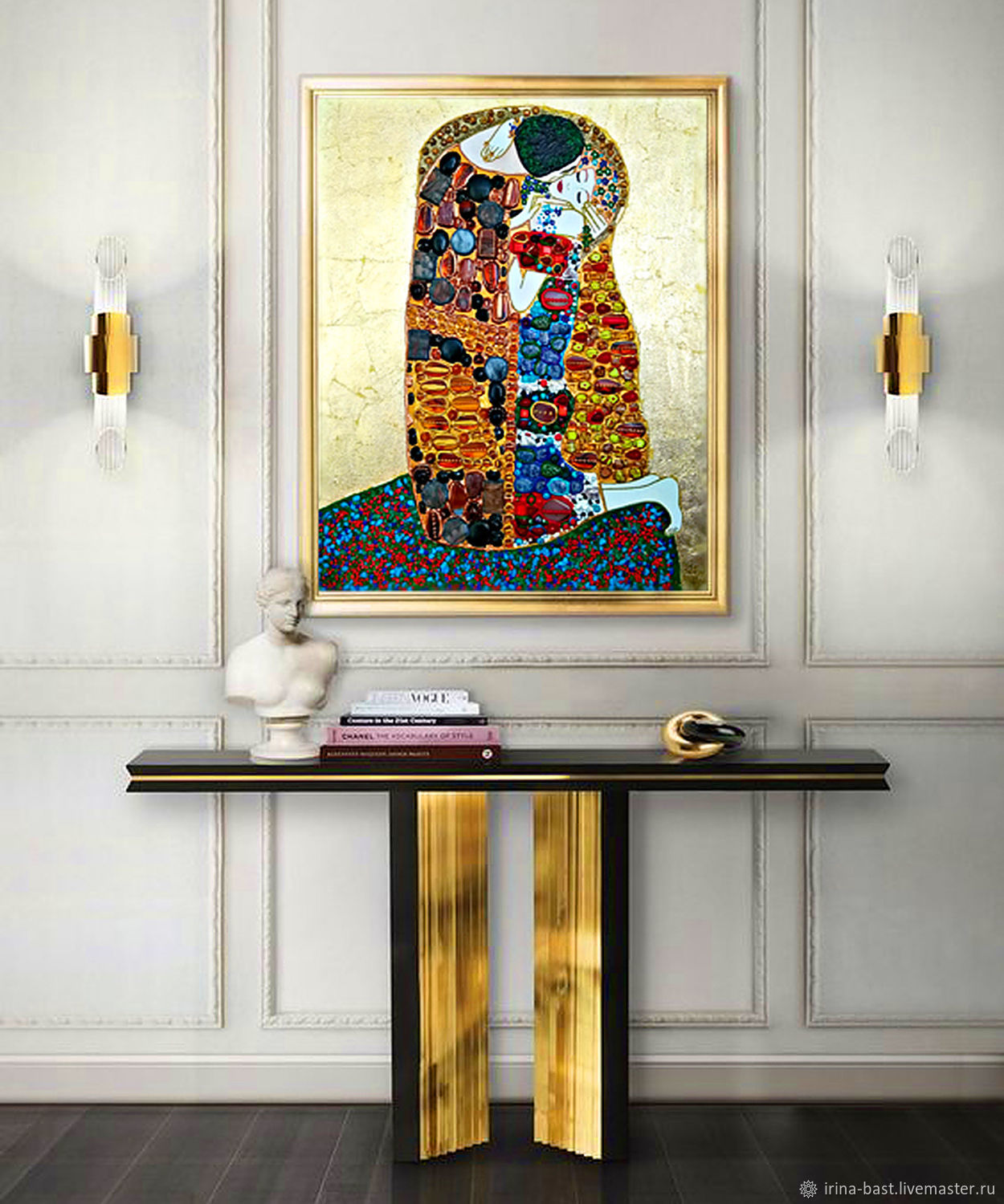 Copy of Painting of the semi-precious stones Gustav Klimt The Kiss, Pictures, St. Petersburg,  Фото №1