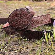 Аксессуары handmade. Livemaster - original item Brown embossed genuine leather strap. Handmade.