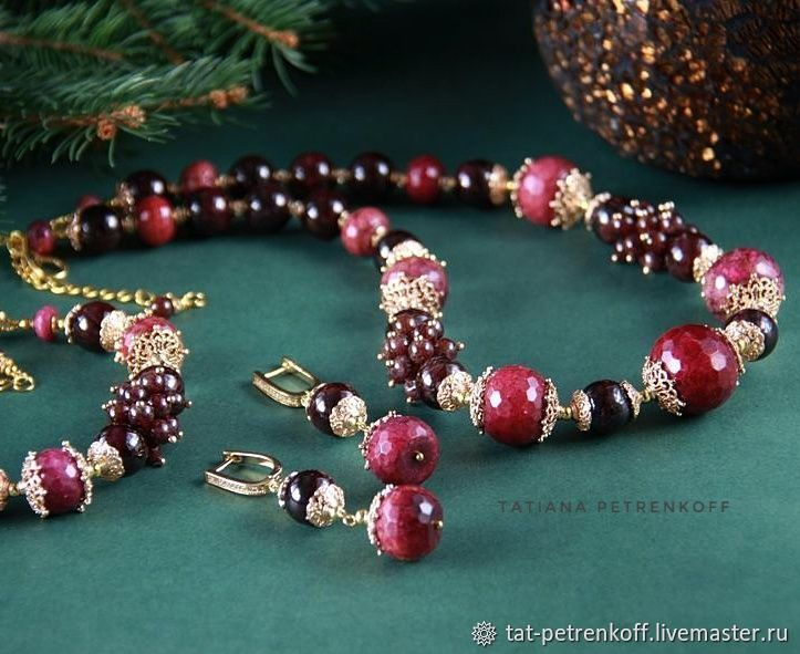 Necklace 'Burgundy' garnet, Jasper, gold plated, Necklace, Moscow,  Фото №1