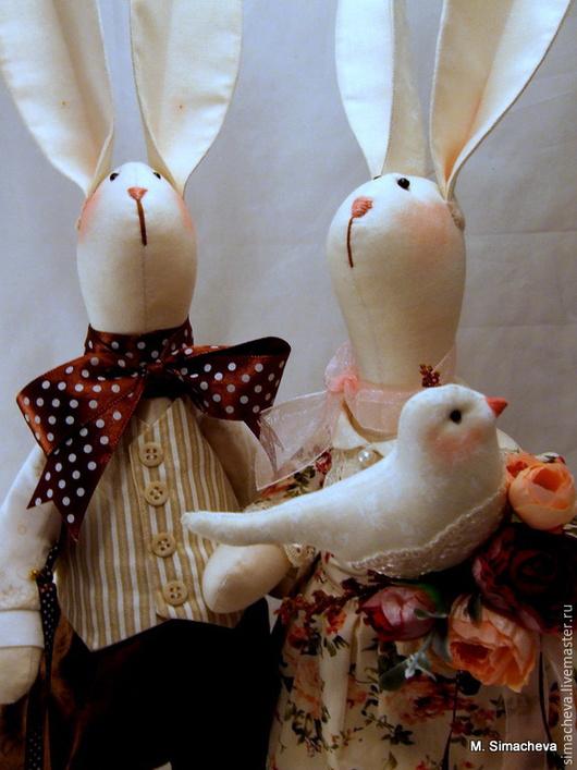 Игрушки животные, ручной работы. Ярмарка Мастеров - ручная работа. Купить Зайцы Зайцевы. Handmade. Зайцы, текстильная кукла, кружево