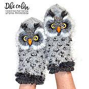 Аксессуары handmade. Livemaster - original item Mittens Owl gray. Handmade.