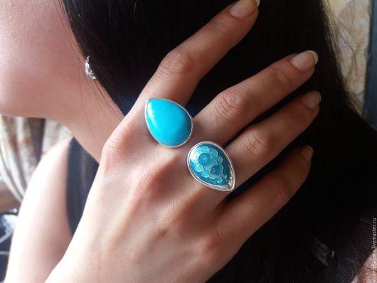Кольца ручной работы. Ярмарка Мастеров - ручная работа. Купить Кольцо двойное. Handmade. Бирюзовый, Горячая эмаль, перегородчатая эмаль