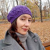 Аксессуары handmade. Livemaster - original item Women knitted beret Bela lilac Merinos. Handmade.