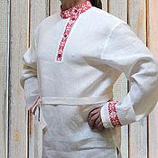Русский стиль handmade. Livemaster - original item Linen shirt with embroidery Spiritual Power. Handmade.