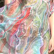 """Платки ручной работы. Ярмарка Мастеров - ручная работа Батик платок """"Рисовые поля"""". Handmade."""