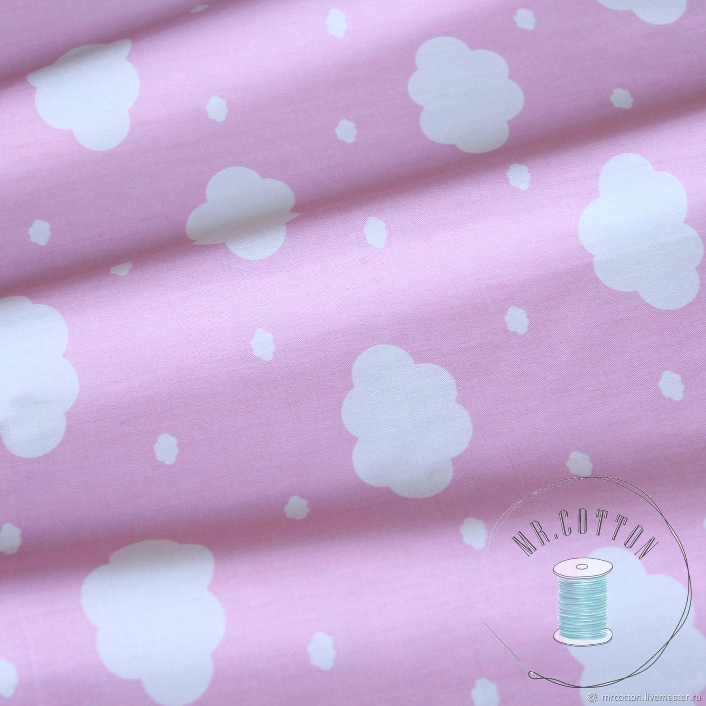Шитье ручной работы. Ярмарка Мастеров - ручная работа. Купить Белые облачка на розовом. 100% хлопок сатин. Handmade.