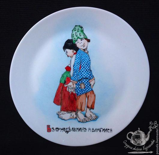 """Тарелки ручной работы. Ярмарка Мастеров - ручная работа. Купить тарелки """"7 дней недели"""". Handmade. Разноцветный, открытки на тарелке"""
