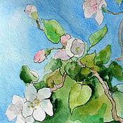 Картины и панно handmade. Livemaster - original item The picture Apple tree in blossom Watercolor 13х18 cm. Handmade.