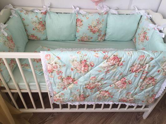 """Для новорожденных, ручной работы. Ярмарка Мастеров - ручная работа. Купить Комплект в кроватку """" мятная нежность"""" в 2х цветах !!. Handmade."""
