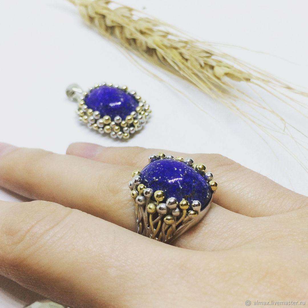 cdbb51410ee0 Эксклюзивное кольцо с крупным натуральным камнем лазурит, серебро 925 –  купить в ...