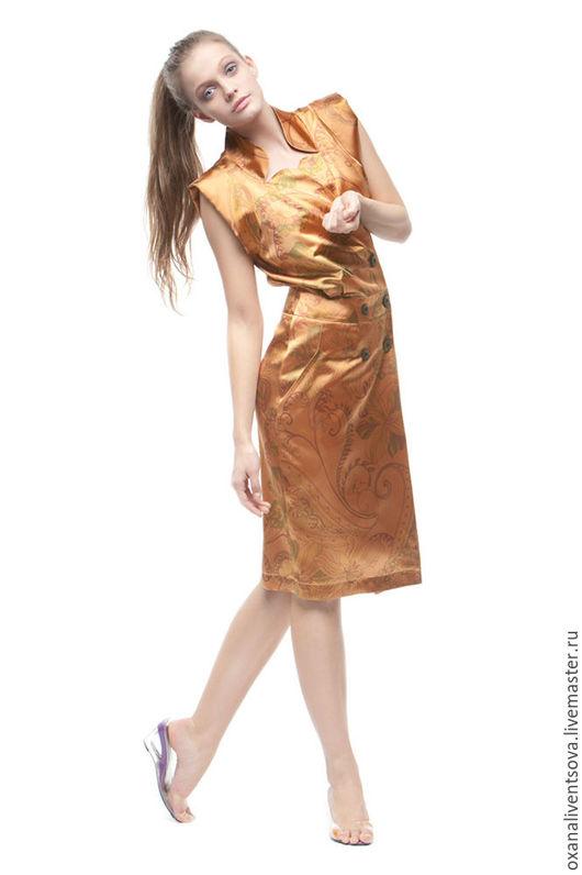 Платья ручной работы. Ярмарка Мастеров - ручная работа. Купить Платье из шелка. Handmade. Рыжий, Коктейльное платье, платье на заказ