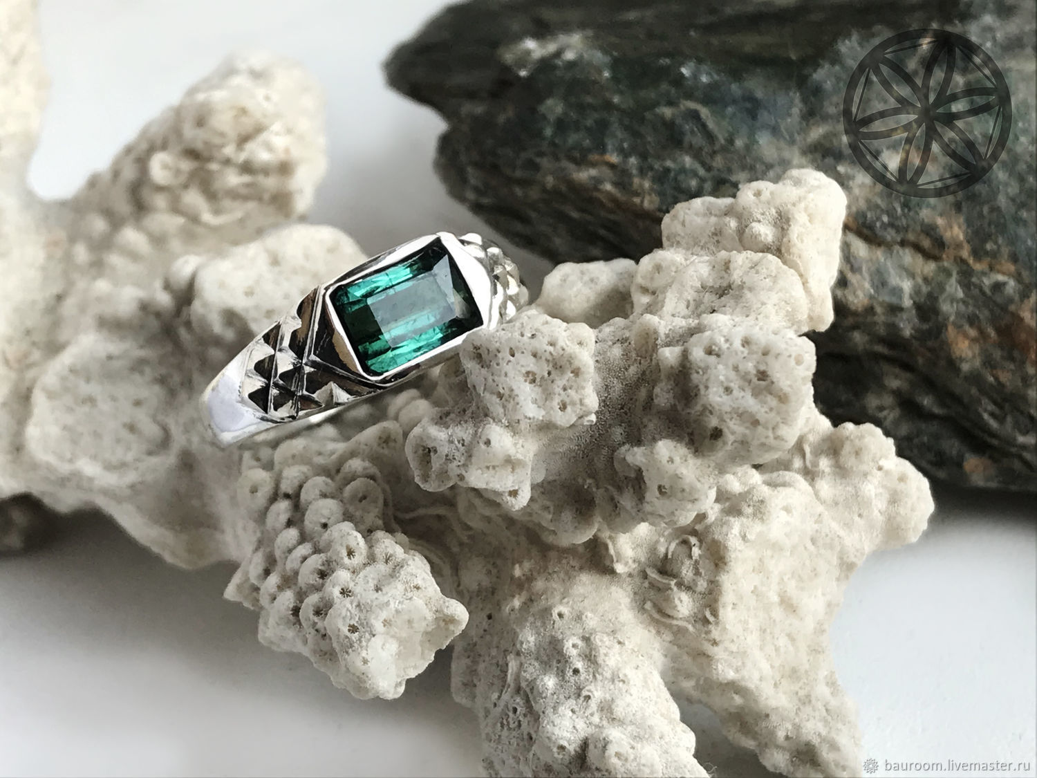 Men's ring with rare Tourmaline Indigolite 2,07 ct handmade, Rings, Moscow,  Фото №1