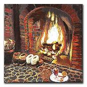Картины ручной работы. Ярмарка Мастеров - ручная работа Картина маслом Уютно у камина с пуншем. Handmade.