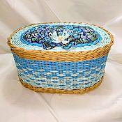 Корзины ручной работы. Ярмарка Мастеров - ручная работа Плетеная корзина для рукоделия с мягкой крышкой, вкладышем для ниток. Handmade.