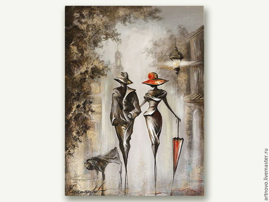 """Пейзаж ручной работы. Ярмарка Мастеров - ручная работа. Купить Картина маслом на холсте """" Прогулка """" готовая картина в раме  Картина. Handmade."""