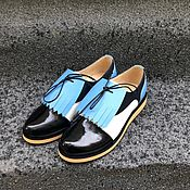 Обувь ручной работы handmade. Livemaster - original item Shoes dark blue/white/blue / black lacquer removable element wedge. Handmade.