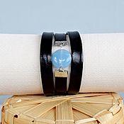 Браслет из бусин ручной работы. Ярмарка Мастеров - ручная работа Черно-голубой браслет кожаный женский. Handmade.