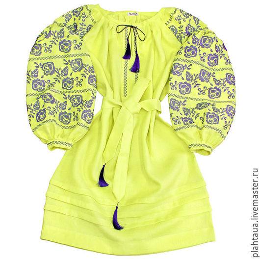 """Платья ручной работы. Ярмарка Мастеров - ручная работа. Купить Платье-вышиванка """"Искрящиеся Розы"""" лимонное. Handmade. Лимонный"""