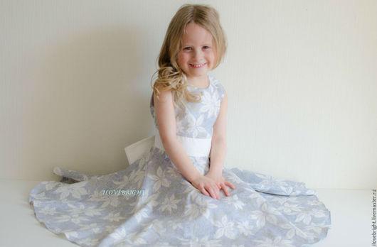 Одежда для девочек, ручной работы. Ярмарка Мастеров - ручная работа. Купить Нарядное платье для девочки с золотым узором. Handmade. Серый