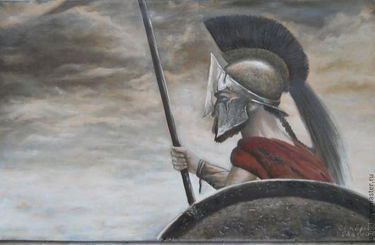 """Люди, ручной работы. Ярмарка Мастеров - ручная работа. Купить Картина маслом """"Спартанец"""". Handmade. Бежевый, человек, воин, спартак"""