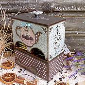 """Для дома и интерьера ручной работы. Ярмарка Мастеров - ручная работа """"Бирюза и шоколад"""". Чайный комодик. Handmade."""