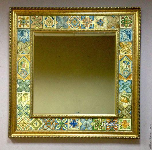 Зеркала ручной работы. Ярмарка Мастеров - ручная работа. Купить Большое зеркало Итальянские изразцы 3. Handmade. Зеркало