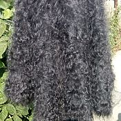 Пуховый платок тёмно серый